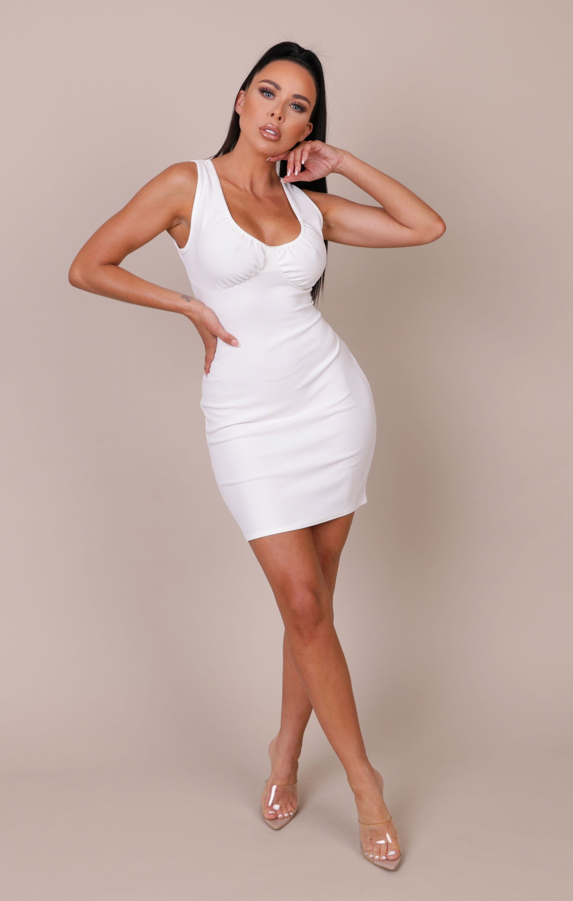 White Strappy Bust Detail Bodycon Mini Dress - Dominique