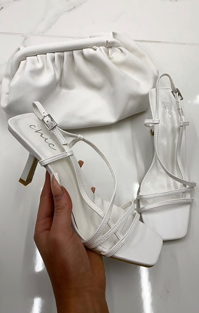 White Strappy Square Toe Low Heels - Talia