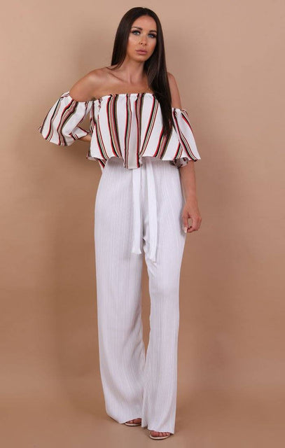 White Striped Bardot Crop Top - Lucy