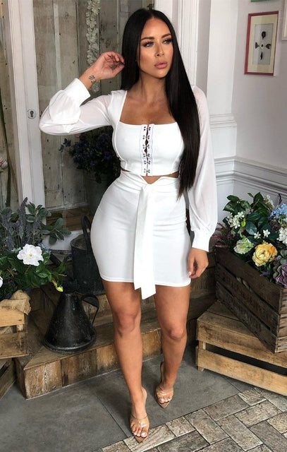 White Tie Front Bodycon Mini Skirt - Saskia