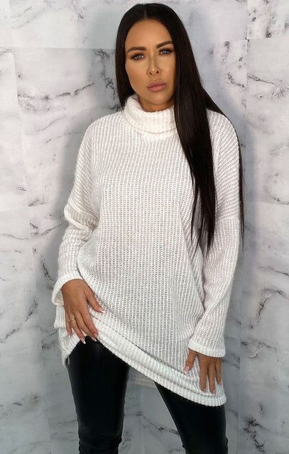 White Turtleneck Oversized Fluffy Long Line Jumper - Mary