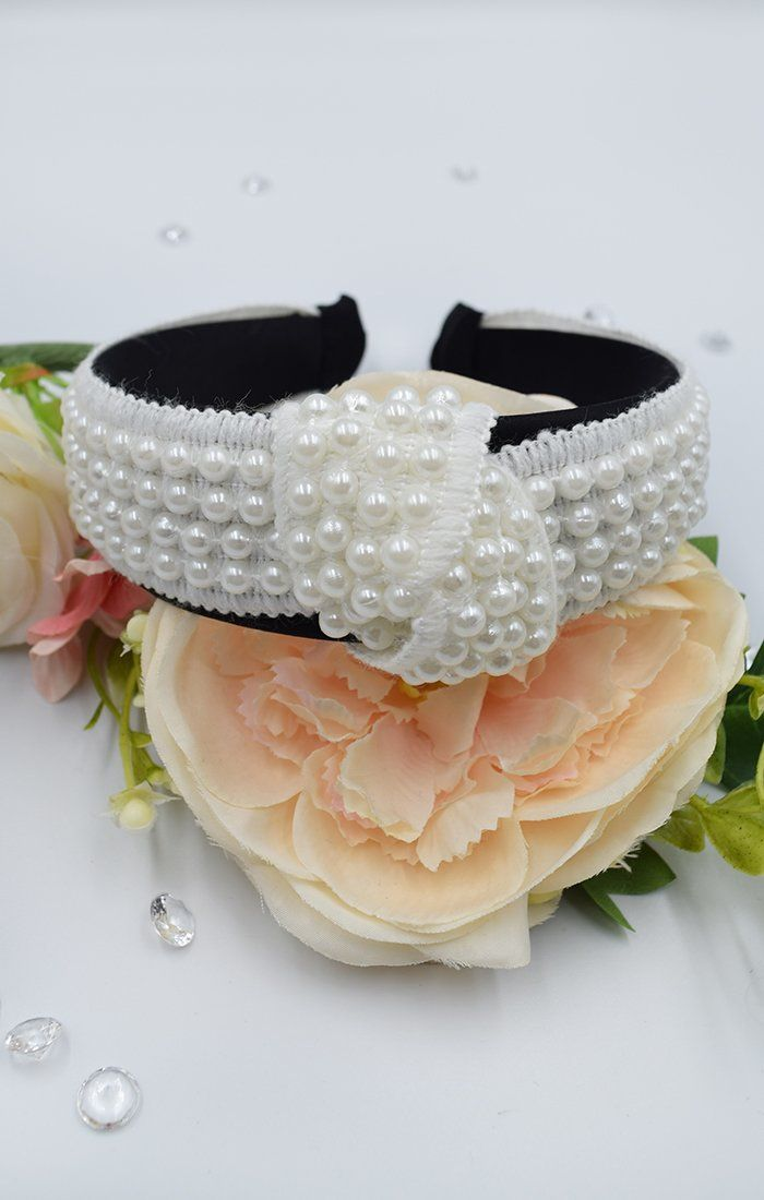 White Twist Knot Beaded Headband - Dacey