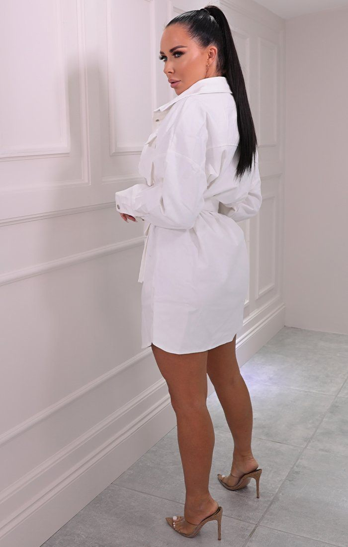 White Utility Belted Dress - Haydan