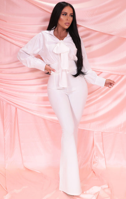 White Wide Leg Flare High Waisted Trousers - Hallie