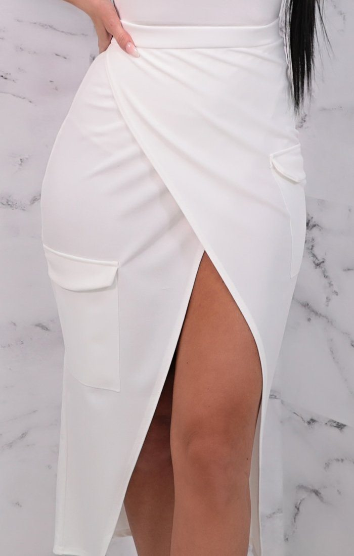 White Wrap Front Split Pocket Detail Midi Skirt - Daisy