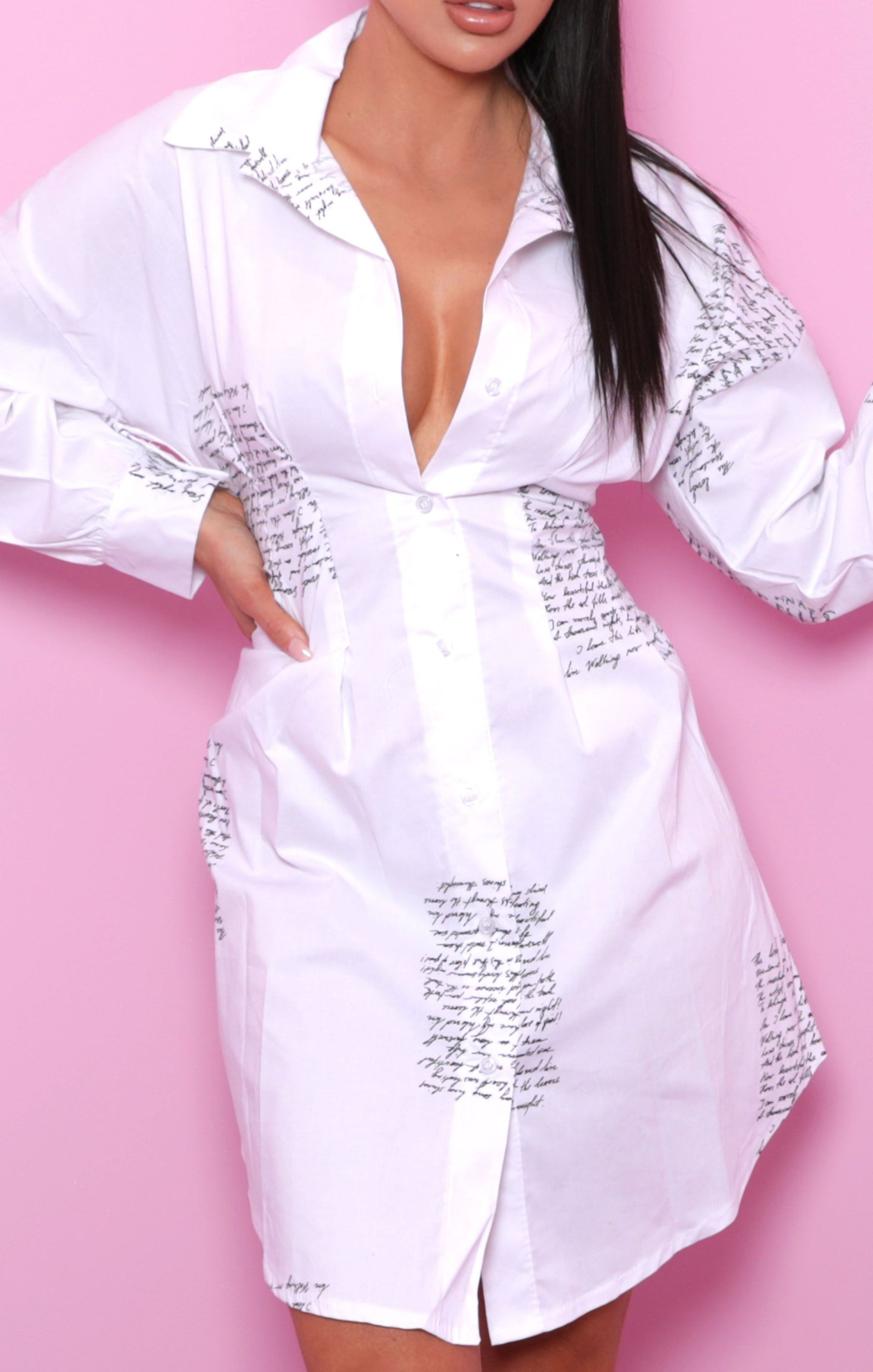 White Writing Fitted Shirt Dress - Lina