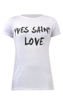 White Yves Saint Love Graphic Print Slogan Tee - Karla