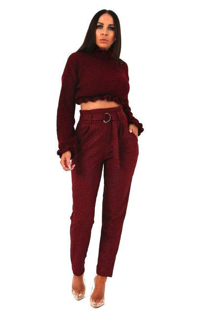 Wine Animal Crocodile Print Cigarette Trousers with Belt - Kim