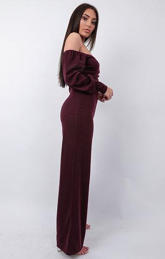 Wine Bardot Wrap Wide Leg Loungewear - Steph