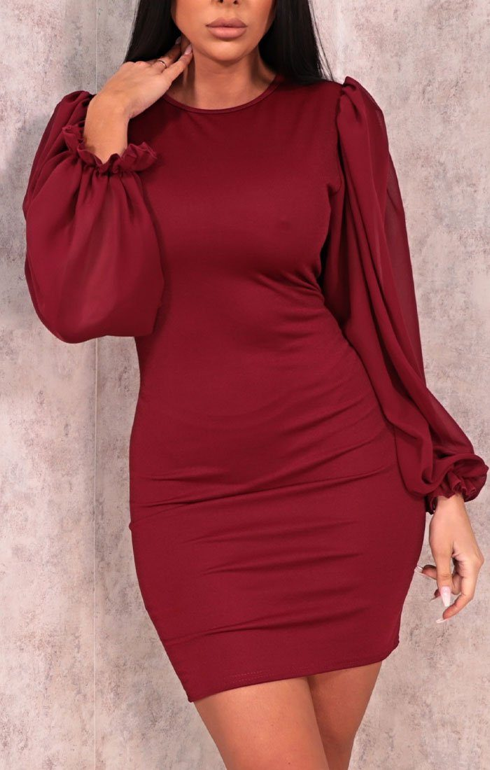 Wine Bodycon Puff Sleeve Mini Dress - Amiie