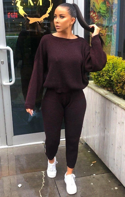 Wine Knitted Crop Top Loungewear Set - Lelia
