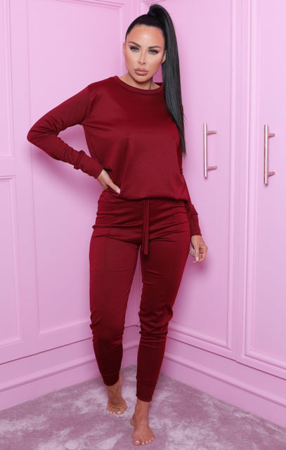 Wine Long Sleeve Top Joggers Loungewear Set - Destiny
