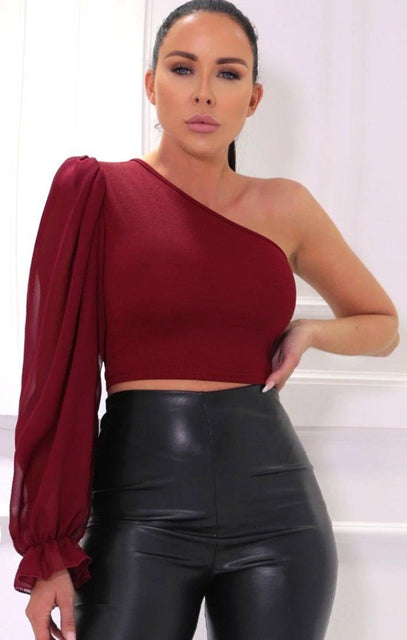 Wine Mesh Puff One Sleeve Organza Crop Top - Rihanna