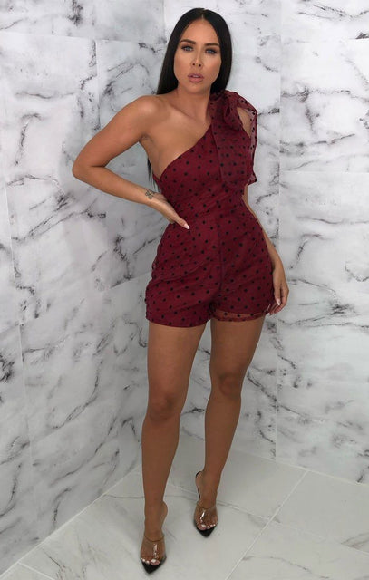 Wine Polka Dot One Shoulder Mesh Overlay Playsuit - Araylia