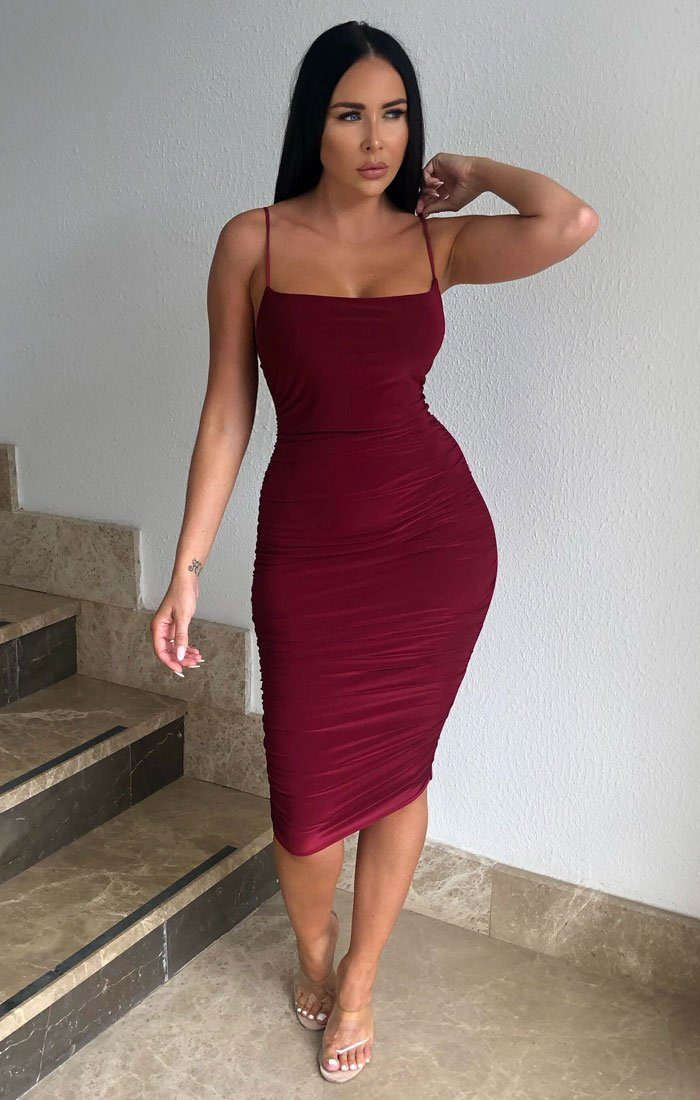 Wine Ruched Midi Bodycon Dress - Taylor