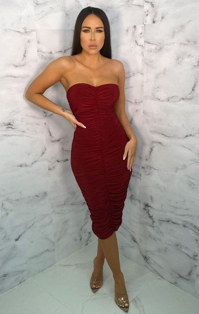 Wine Ruched Strapless Bodycon Midi Dress - Vita