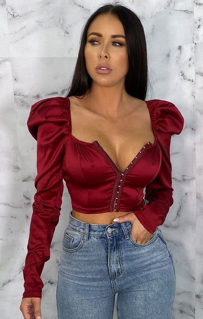 Wine Satin Puff Sleeve Corset Top - Gracelynn