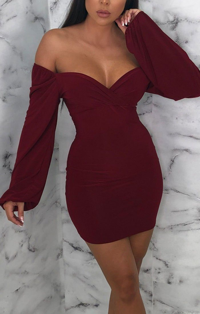 Wine Slinky Balloon Sleeve Dress - Meghan