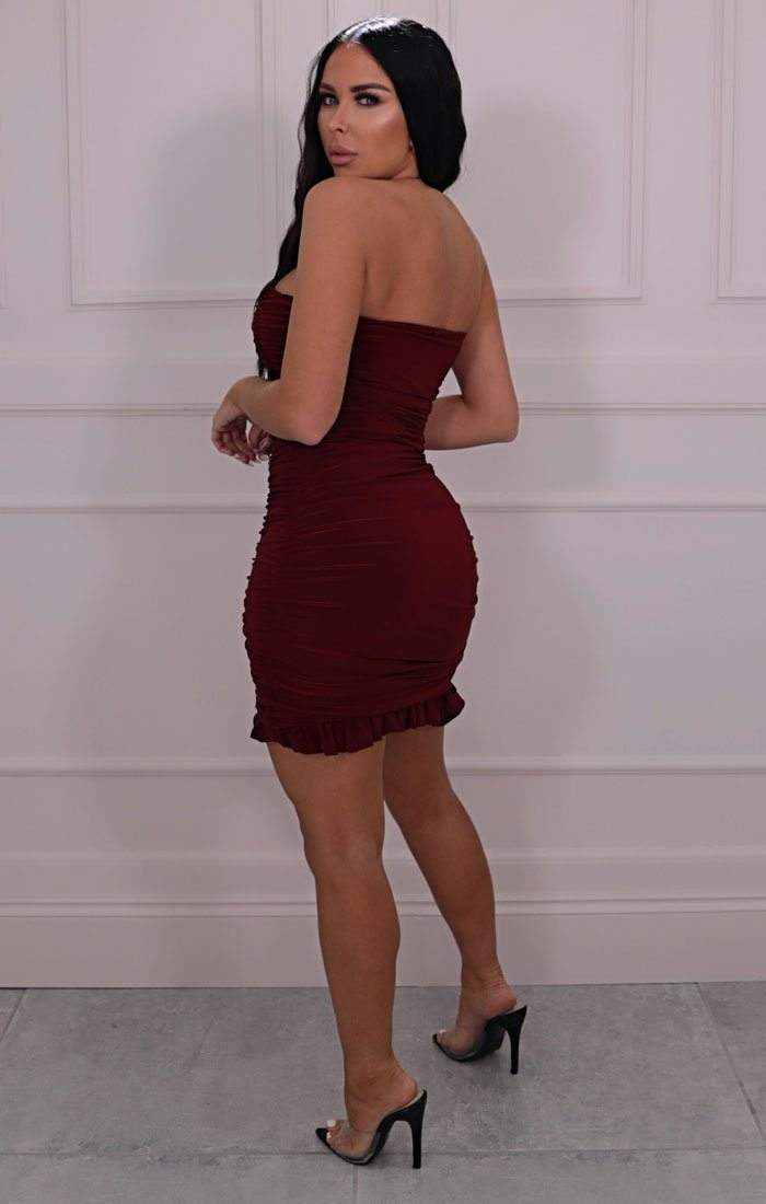 Wine Slinky Ruched Strapless Mini Dress - Mak