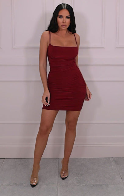 Wine Slinky Ruched Strappy Mini Dress - Rebecca
