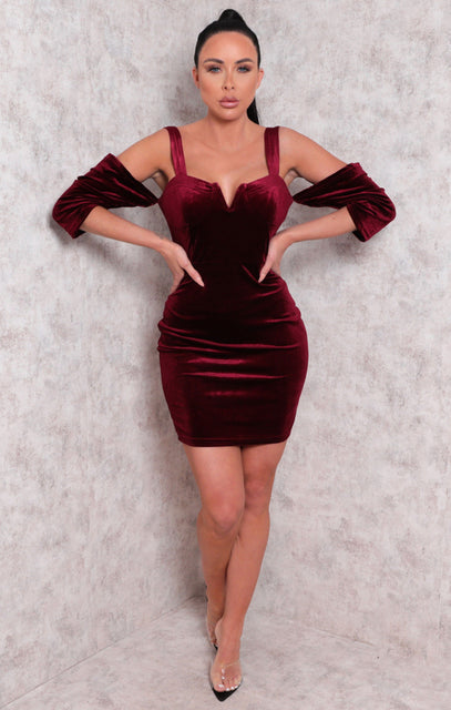 Wine Velvet Bardot Wire Plunge Bodycon Mini Dress - Molly