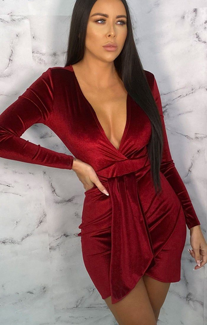 Wine Velvet Bodycon Side Detail Mini Dress - Joanna