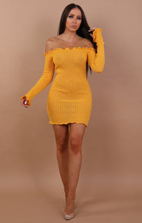 Yellow Bardot Knitted Mini Dress - Carmen