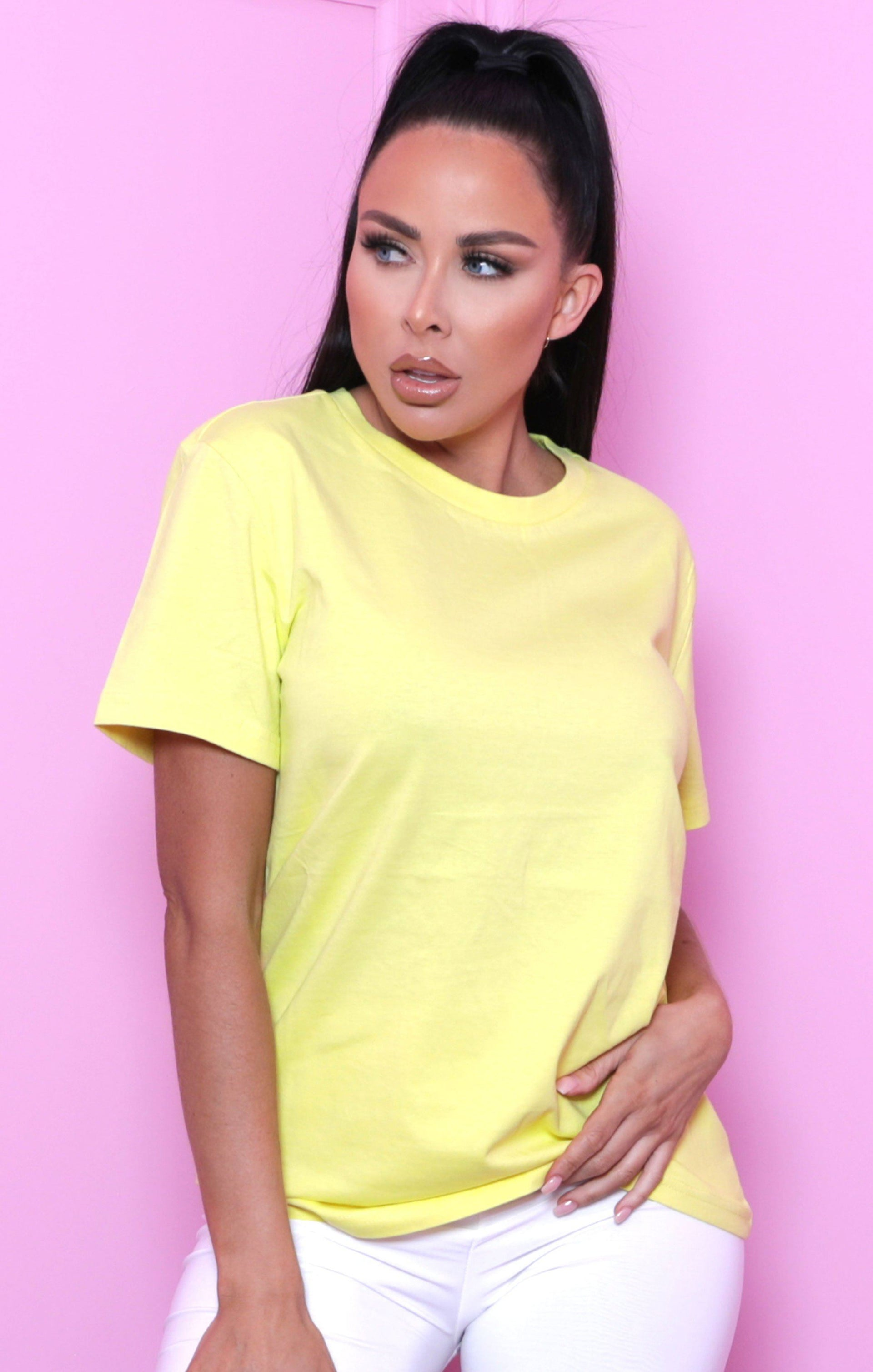 Yellow Basic Crew Neck Short Sleeve T-Shirt - Jana