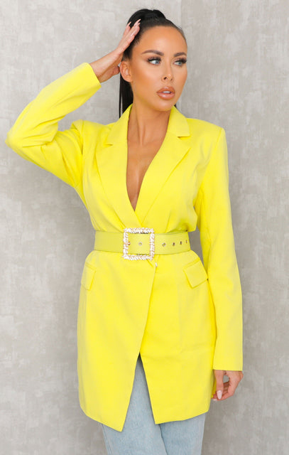 Yellow Belted Blazer Dress - Bonnie