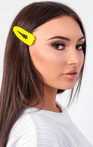Yellow Circle Hair Clip - Ruby
