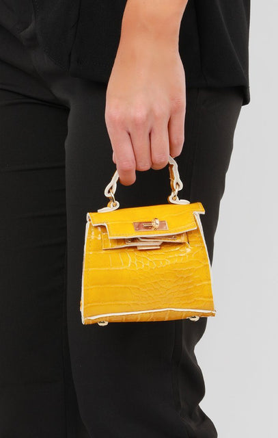 Yellow Croc Mini Bag - Laura