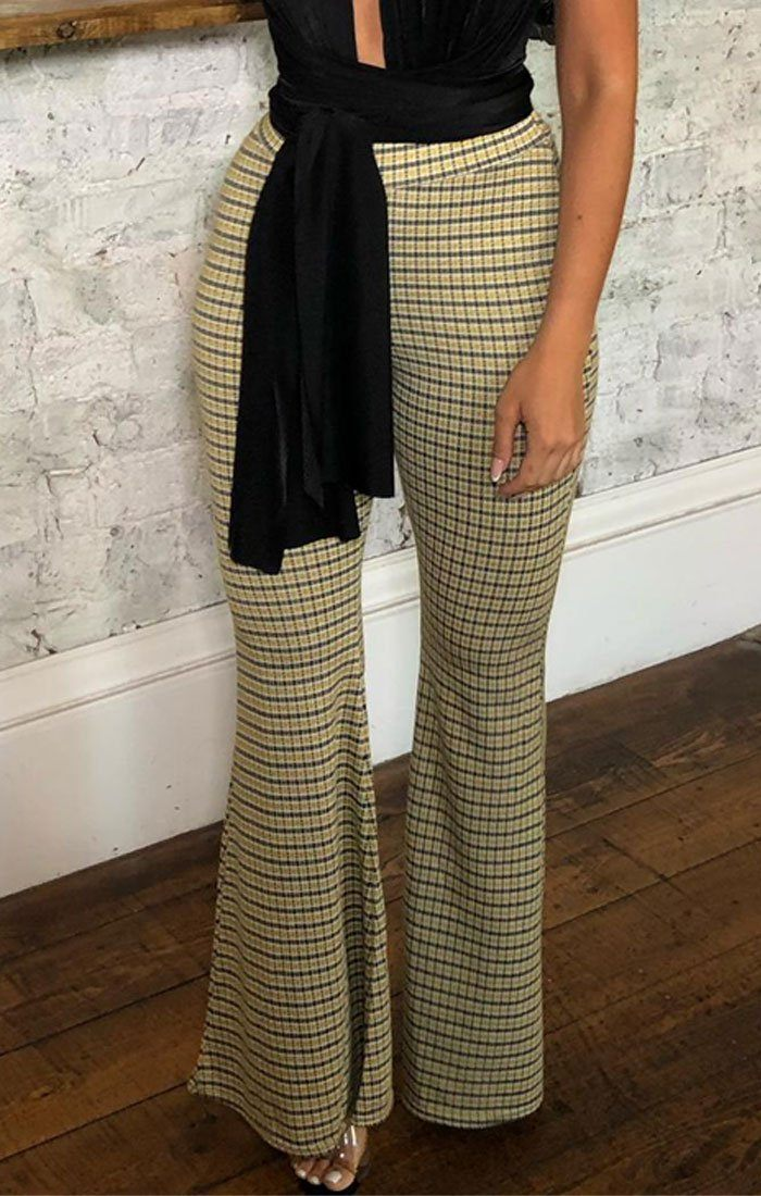 Yellow Dogtooth Flare Leg Trousers - Raquel