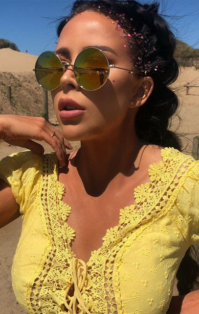 Yellow Mirrored Circle Sunglasses - Adelina
