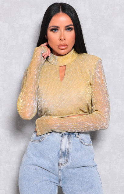 Yellow Ribbed Metallic High Neck Crop Top - Chloe