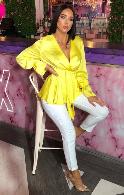 Yellow Satin Long Sleeve Wrap Top - Journee