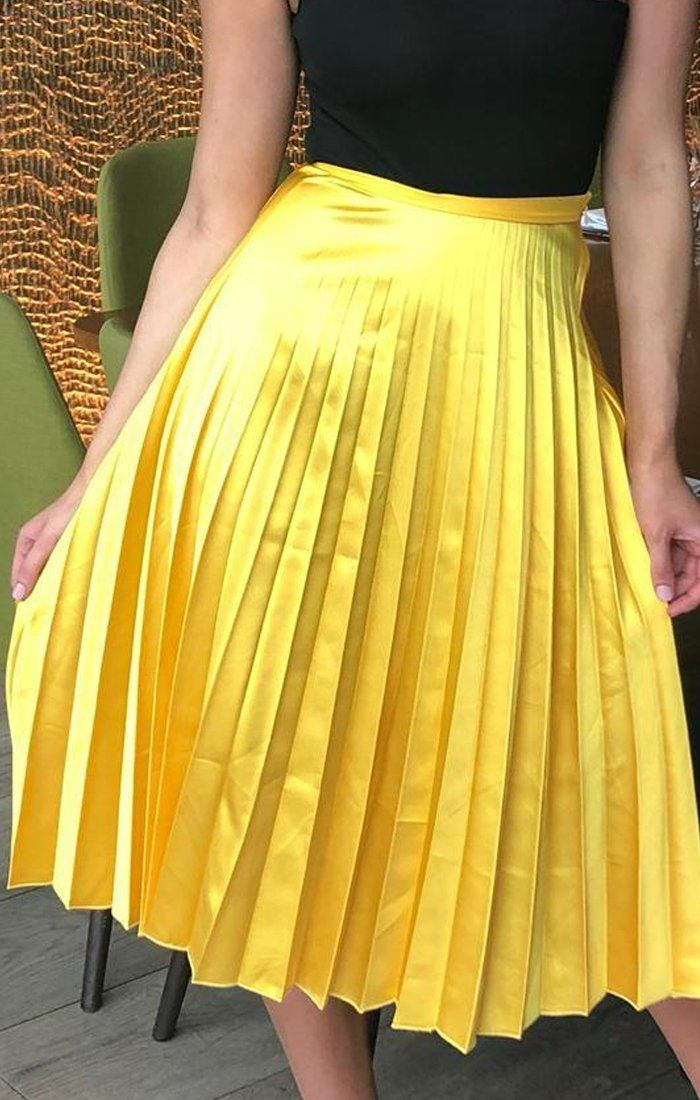 Yellow Satin Pleated Midi Skirt - Leona