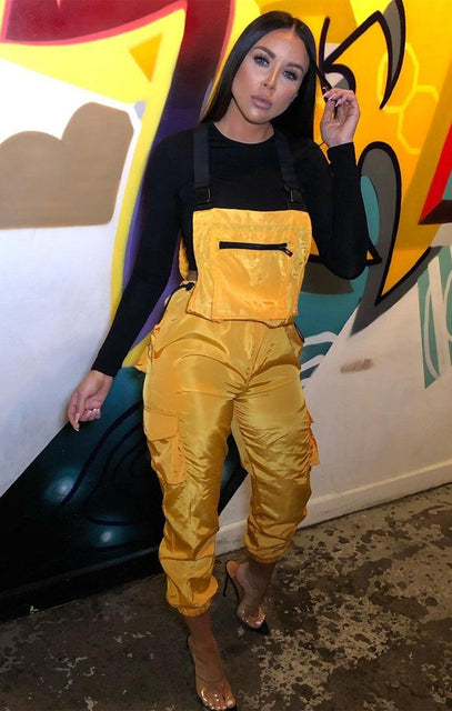 Yellow Shell Suit Dungarees - Lizbeth