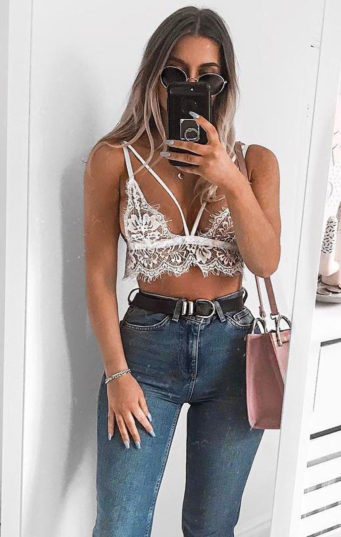 White Extended Lace Bralette