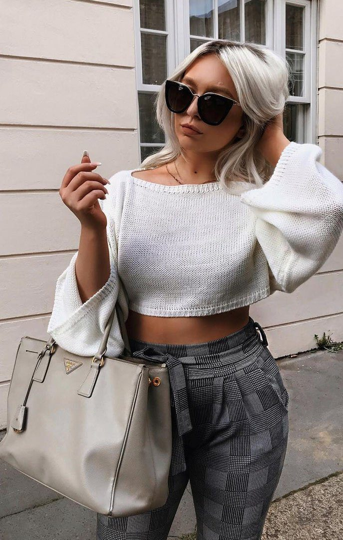 White Cropped Flare sleeve Knitted Jumper - Judy