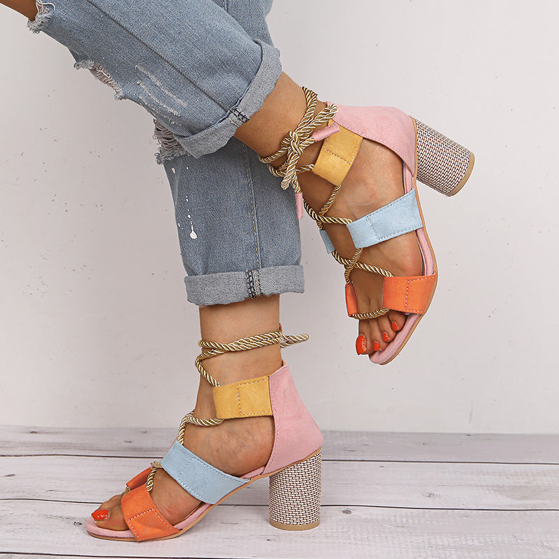 Women High Heel Matching Colored Strappy Sandals