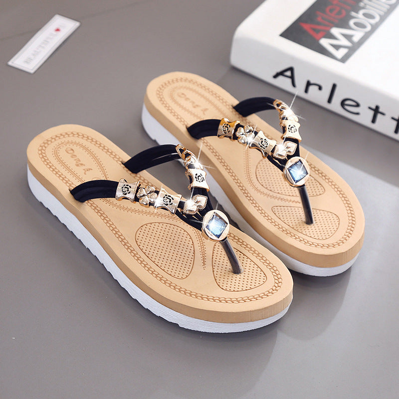 Women Flats Rhinestone Sandals Ladies Beach Flip Flops
