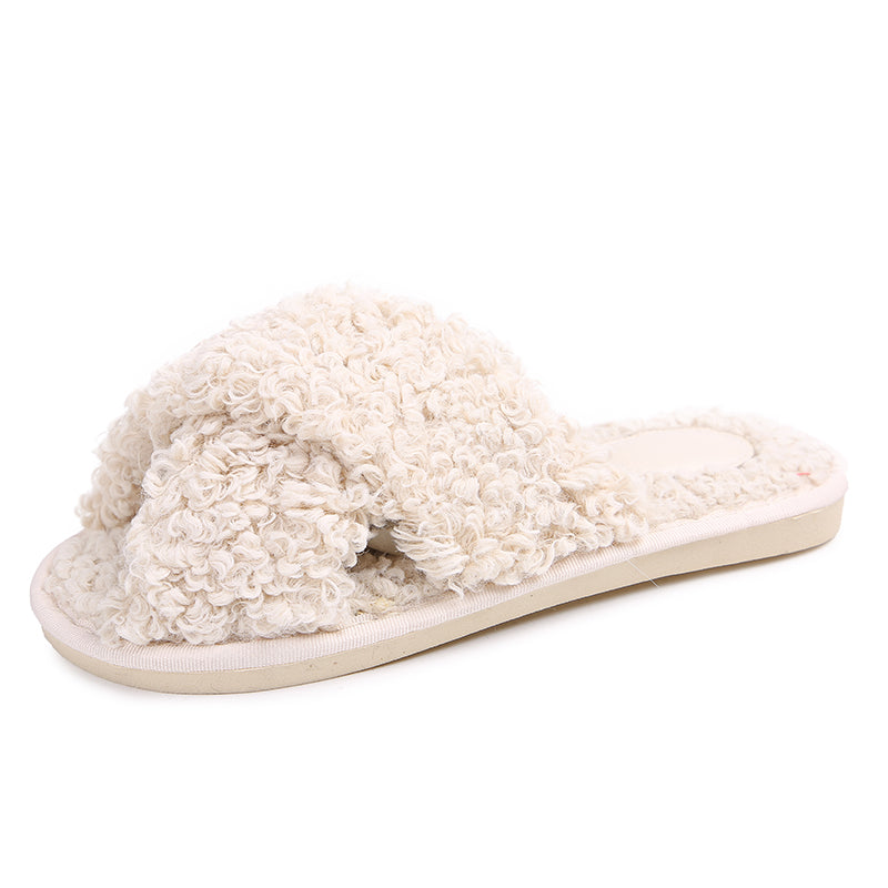 Women Fur Slippers Lambswool Cross Thong
