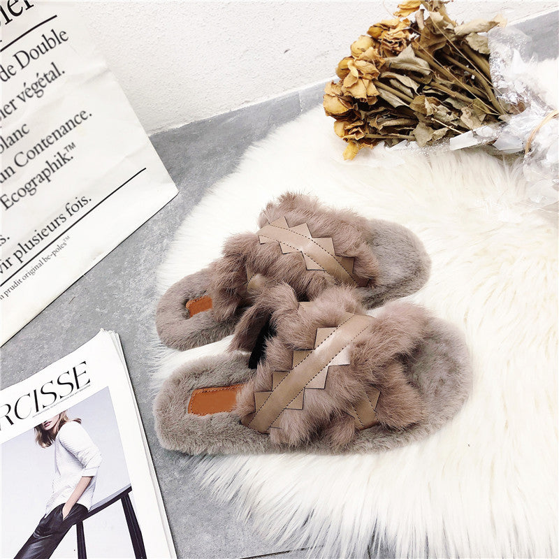 Women Winter X Strap PU Fur Slippers