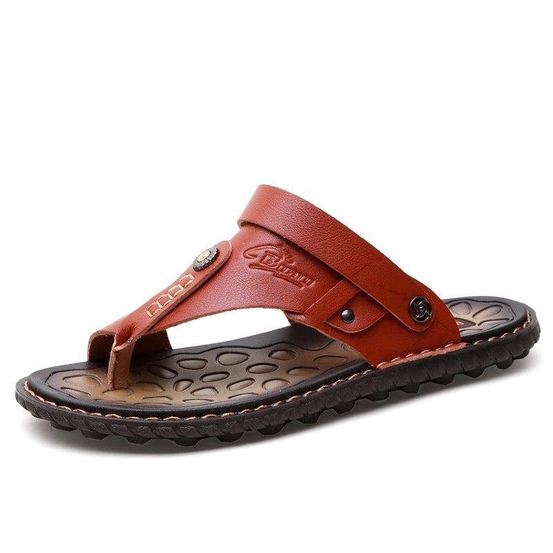 Men Leather Flip Flops Beach Sandals