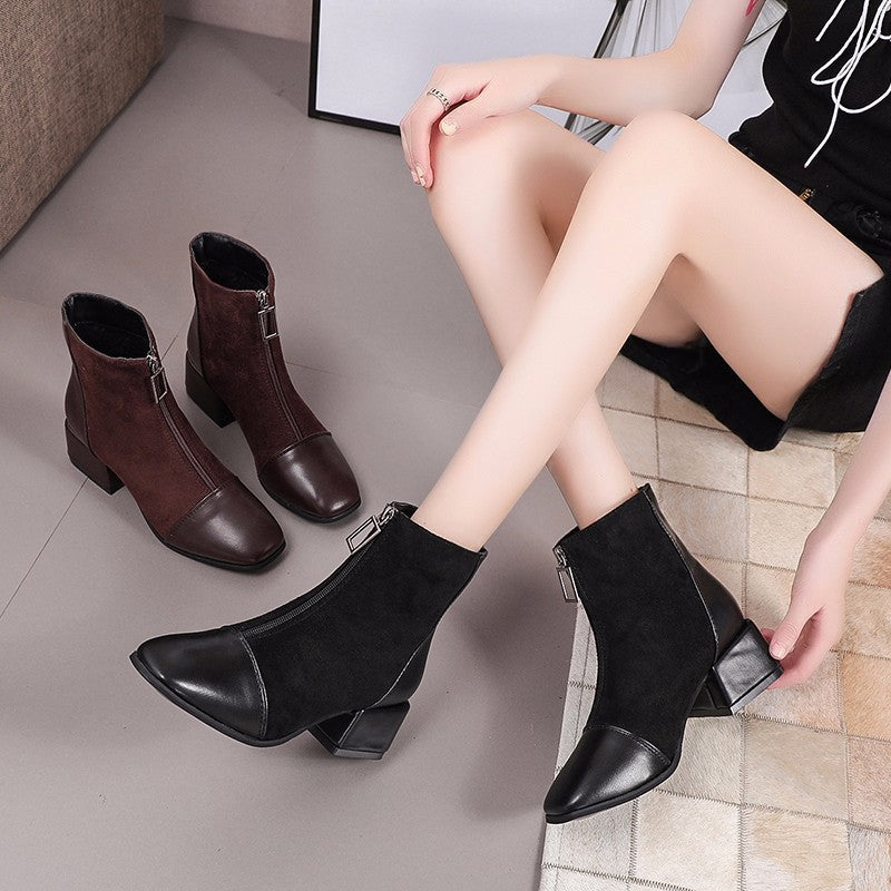 Fashion Women Boots Casual Leather High Heels