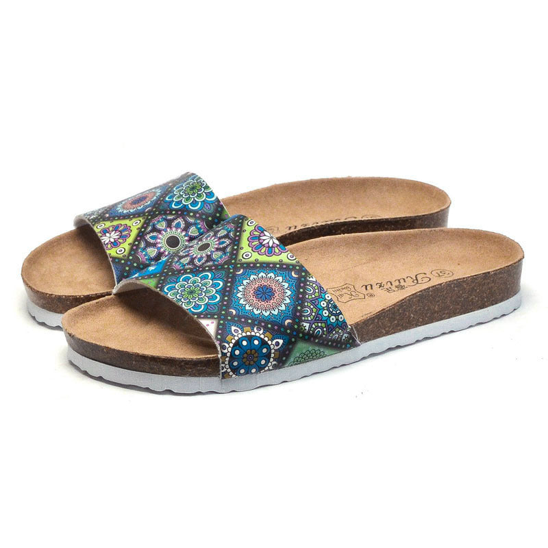 Women Slide Cork Sandals Retro Print Slippers