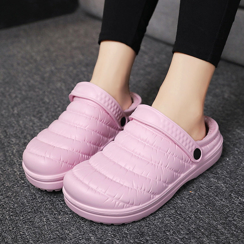 Men Women Fur House Slippers Waterproof