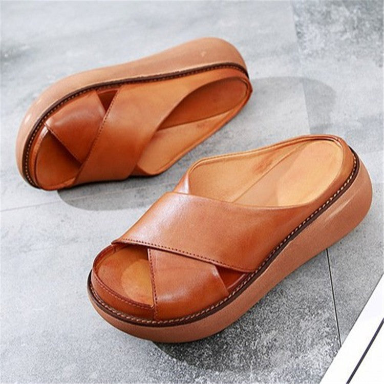 2021 Women Wedge X Strap Slide Sandals