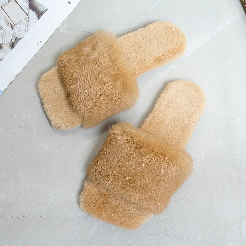 Women Fur Slippers House Sandals Fashion