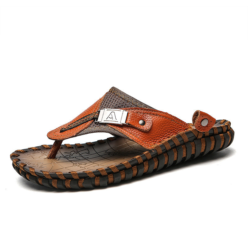 Men Genuine Leather Beach Flip Flops